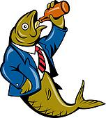 cartoon Herring fish drinking beer