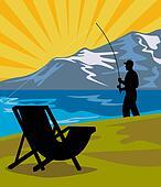 Fly fisherman fishing fly rod reel