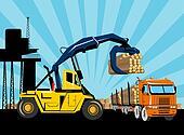 logging truck forklift hoist crane