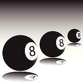 three ball eight vector illustratio