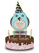 Happy Birthday Blue Bird with Cake Candles Hat