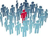 Key man center figure in group company people