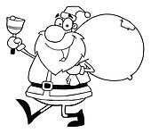 Outline Santa Waving A Bell