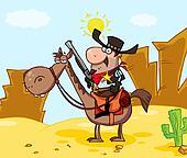 Sheriff On Horseback In A Desert