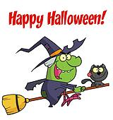 Happy Halloween Green Witch