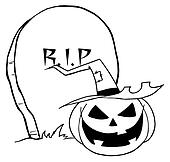 Cartoon R I P Gravestone Pumpkin