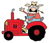 Happy Farmer In Red Tractor