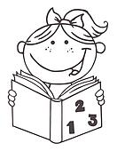 Outlined Kid Girl Reading A Book