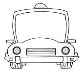 Outlined Cartoon Police Car