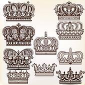 vector royal crowns for design