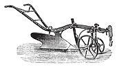 Technology of plow of Bajac-Delahaye, vintage engraving.