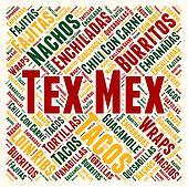 Tex Mex cuisine word cloud concept