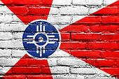 Flag of Wichita, Kansas, painted on brick wall