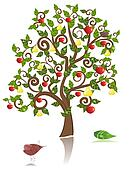 ornamental tree with an apple and pear