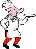 cartoon pig chef cook baker serving