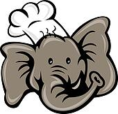 cartoon chef cook baker elephant head
