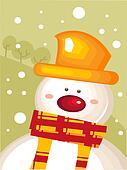 Christmas card with snowman