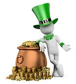 3d white people. St patricks day. Leprechaun with pot with gold coins. Isolated white background.