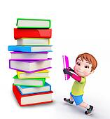 Cute boy with books