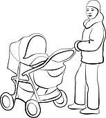 Walking family silhouette