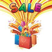 shopping bag with sale poster