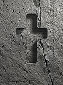 cross sign on stone