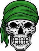 Cartoon skull in green bandana