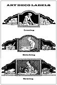 collage of 3 art deco labels about domestic chores and homework