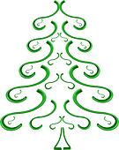 Green spruce tree, object white isolated