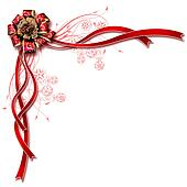 Beautiful design of white background red ribbon