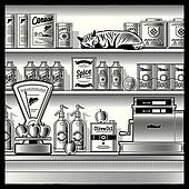 Retro store black and white