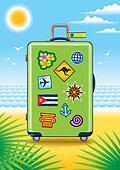 Suitcase for travel on a beach
