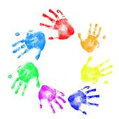 Handprints in different colors