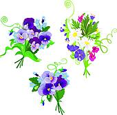 Set of holidays bouquets with chamomiles, pansies and forget me