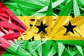 Sao Tome and Principe Flag on cannabis background. Drug policy. Legalization of marijuana