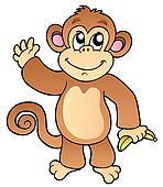 Cartoon waving monkey with banana