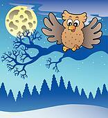 Cute flying owl in snowy landscape