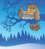 Owl family in winter