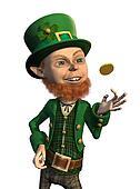 Lucky Leprechaun Flipping a Coin