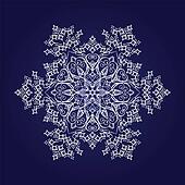 Detailed white snowflake on blue
