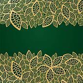 Golden leaf lace on green