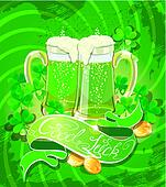 Holiday card with calligraphic words Good Luck and Beer mugs, Sh
