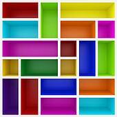 3d colorful shelves for show case