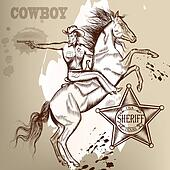 Cowboy or sheriff on a horse shoutting from gun