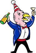 cartoon turkey suit wine bottle