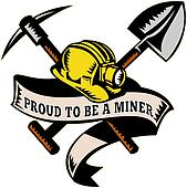 coal miner hardhat shovel pickax