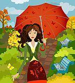 girl fall under the umbrella