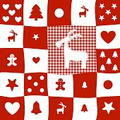 red and white checkered pattern christmas card