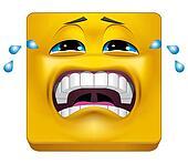Square emoticon crying