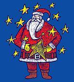 Santa Claus within stars